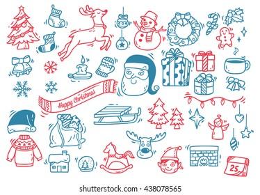 Set of Christmas doodle