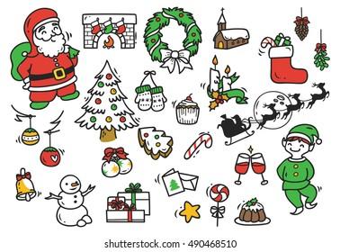 Set of Christmas doodle element