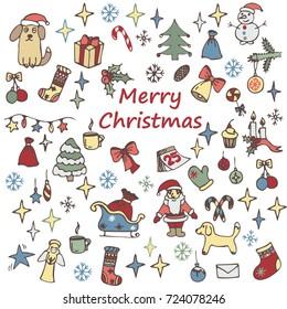 Set of Christmas elements for design. Doodle Elements