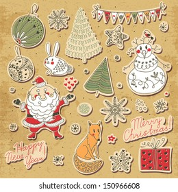 A set of Christmas elements for design. Santa Claus, snowman, Christmas tree, hare, fox, snowflakes and stars. Vector illustration.