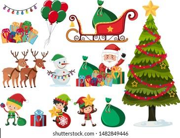 Set of christmas elements on white background illustration