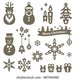 Set of Christmas elements silhouette