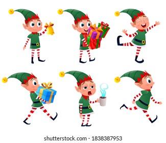 Set of Christmas elf. Cute Santa Claus helpers to elves. Dwarf elves fun characters santa helper, christmas little green helper.  Happy New Year, Merry Christmas and elves. Vector illustration