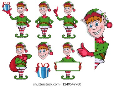 Set of Christmas elf. Set of different elves for christmas. Different new year characters. Santa Claus helpers. New Year characters in the form of Christmas elf. Merry Xmas design element