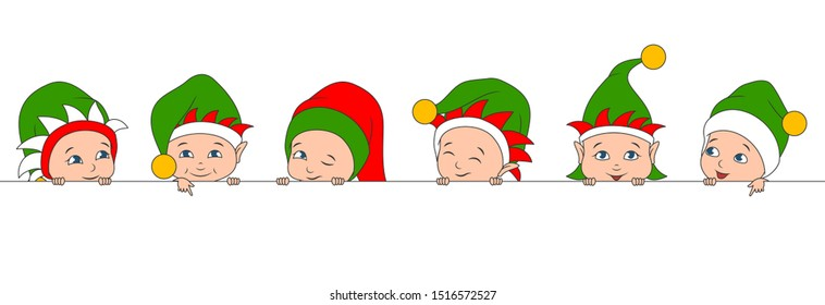Set Christmas Elfs Children, Babies in Irish Hats. Boys and Girls with Clean Banner - Illustration Vector