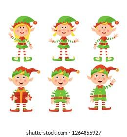 Set of Christmas elves. Vector illustration.