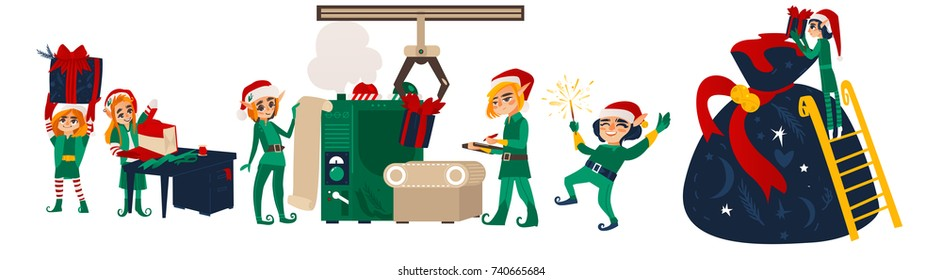 Set of Christmas elves working, making presents in Santa workshop, flat cartoon vector illustration isolated on white background. Santa helpers, elves making Christmas presents in workshop