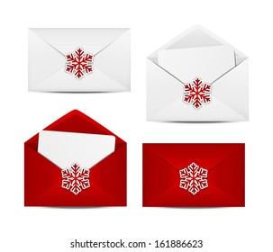 Set of Christmas envelope icons