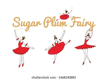 set with christmas fairy or sugar plum fairy sprinkling happiness