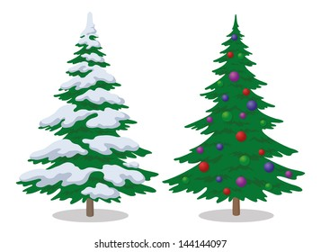 Set of Christmas fir trees with snow and holiday balls, winter symbol, isolated on white. Vector