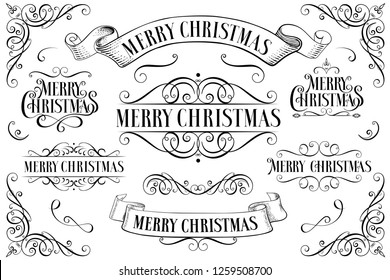 Set of Christmas  frames. Christmas Callygraphic - hand drawn inscription. Lettering. Text for greeting card. Greeting card