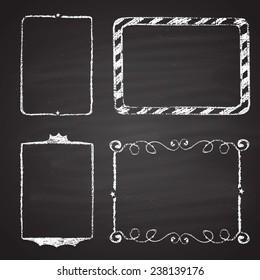 Set of Christmas  frames drawn with chalk on a black chalkboard.