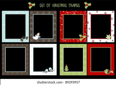 Set of Christmas frames, vector