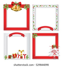Set of Christmas frames,vector christmas border, christmas frame picture, christmas card design set, note peper