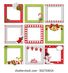 Set of Christmas frame,vector border christmas, picture frame design