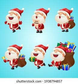 Set of Christmas Funny cute Santa Claus.