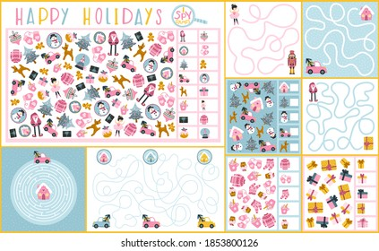 A set of Christmas games for children. Spy and maze game. Vector illustration in hand drawn cartoon childish style. Educational maze puzzles suitable for games, book printing, applications, education