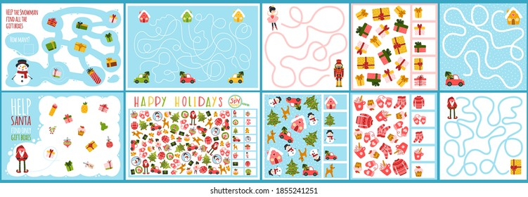 A set of Christmas games for children. Spy and maze game. Vector illustration in hand drawn cartoon childish style. Educational maze puzzles suitable for games, book printing, applications, education.