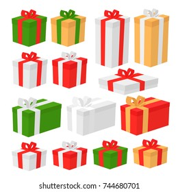 Set Of Christmas Gift Box Isolated On White Background. Cartoon Style Vector Illustration