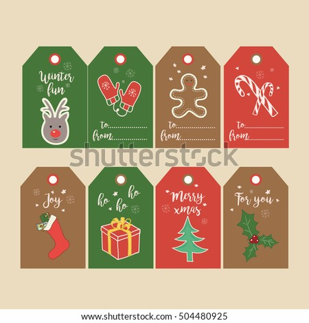 set of christmas gift tags and labels with hand drawn illustrations printable new year cute