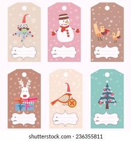 Set of Christmas gift tags (vector template)