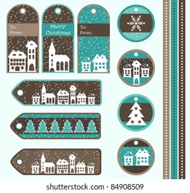 Set of Christmas gift tags, vector