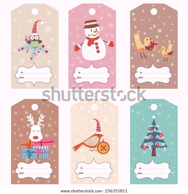 Christmas Gift Tags Template.Set Christmas Gift Tags Vector Template Stock Vector