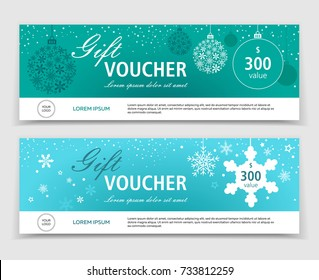 Set of Christmas gift vouchers, certificates or coupons with discount. Gift voucher template. Eps 10 vector illustration.