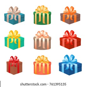 Set of christmas gifts boxes in holiday packages with bowknots. Christmas holiday presents realistic design. Vector illustration..