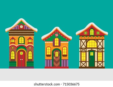 Set of Christmas Gingerbread Houses. Vector Illustration. Flat, Cartoon Style. Beautiful Christmas Decorative Design for Kids.
