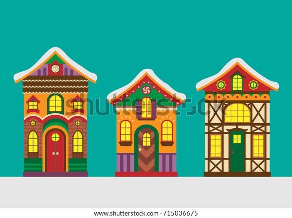 Christmas Gingerbread House Cartoon.Set Christmas Gingerbread Houses Vector Illustration Stock