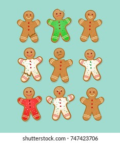 set of Christmas gingerbread man cookies with different injuries and expressions.