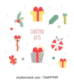 Set of Christmas graphic elements on a white background, collection design elements, vector images