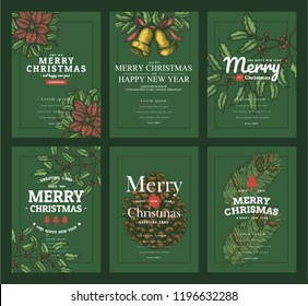 set of christmas greeting card or another template.