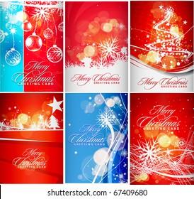 set christmas greeting card with presentation design.