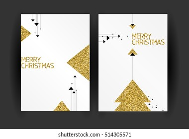 Set of Christmas greeting cards design - minimalism. Minimal Christmas cards with golden sparlkes and glitter on white background with abstract forms of Christmas tree and geometric elements
