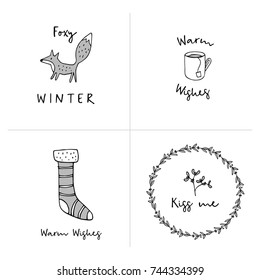 Set of  Christmas greeting cards, invitations with hand drawn doodle icons. Winter design with fox, Christmas wreath, sock and cup of tea. Isolated vector illustrations.