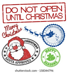 Set of Christmas grunge stamps on white background, vector illustration