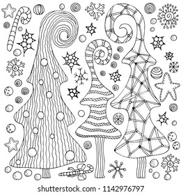 Set of Christmas hand-drawn decorative elements in vector. Fancy Christmas trees, balls, stars. Pattern for coloring book. Black and white pattern. Sketch by trace. Zentangle.
