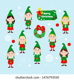 Set of Christmas happy elves. Santa claus helpers wave their hands and smile. Festive vector illustration of winter cartoon characters. Design for greeting cards, web and marketing.