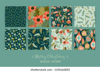 Set of Christmas and Happy New Year seamless patterns. Trendy retro style. Vector design template.