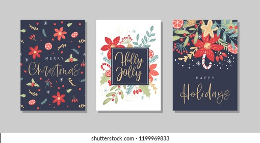 Set of Christmas and Happy New Year greeting cards with handwritten calligraphy and hand drawn decorative elements. Trendy vintage style.