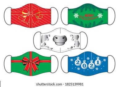 Set of Christmas and Happy New Year 2021 reusable mouth masks in vector.