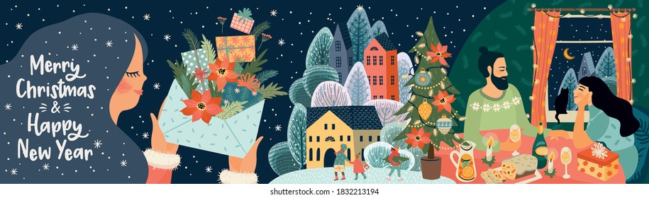 Set of Christmas and Happy New Year illustrations. Trendy retro style. Vector design banner.