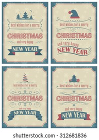 Set of Christmas and Happy New Year card with ornate elements in retro style. Vector illustration.