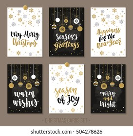 Set Christmas and Happy New Year sale and giveaway cards with handwritten brush calligraphy and decorative elements. Decorative vector illustration for winter invitations, cards, posters and flyers.