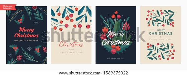 Set of Christmas and Happy New Year Floral Card templates. Trendy retro style. Vector design element.