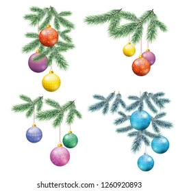 Set Christmas Holiday Decorations, Fir Branches and Colorful Glass Balls with Floral Patterns and Snowflakes. Vector