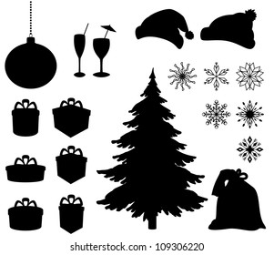 Set Christmas holiday objects. Black silhouette on white background. Vector