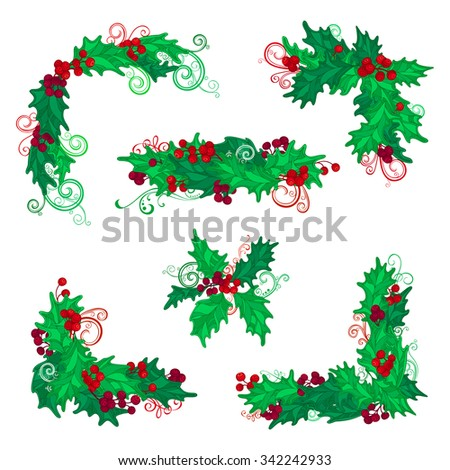 set of christmas holly berries design elements vector vintage corners page decorations and dividers - Christmas Holly Decorations